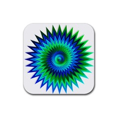 Star 3d Gradient Blue Green Rubber Square Coaster (4 Pack)  by Nexatart