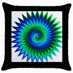 Star 3d Gradient Blue Green Throw Pillow Case (black)