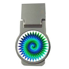 Star 3d Gradient Blue Green Money Clips (round)  by Nexatart