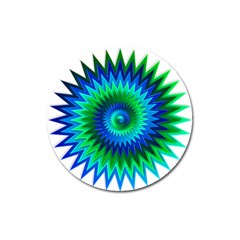 Star 3d Gradient Blue Green Magnet 3  (round) by Nexatart