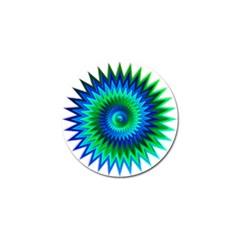 Star 3d Gradient Blue Green Golf Ball Marker by Nexatart