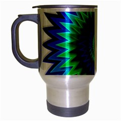 Star 3d Gradient Blue Green Travel Mug (silver Gray) by Nexatart