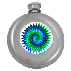 Star 3d Gradient Blue Green Round Hip Flask (5 Oz) by Nexatart