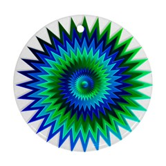 Star 3d Gradient Blue Green Round Ornament (two Sides) by Nexatart