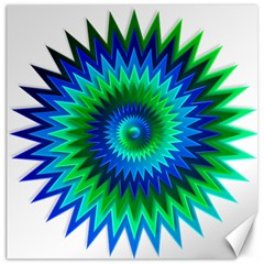 Star 3d Gradient Blue Green Canvas 16  X 16   by Nexatart