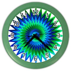 Star 3d Gradient Blue Green Color Wall Clocks