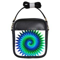 Star 3d Gradient Blue Green Girls Sling Bags by Nexatart