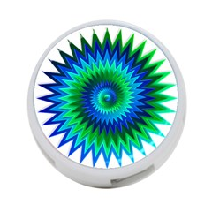 Star 3d Gradient Blue Green 4 Port Usb Hub (one Side) by Nexatart
