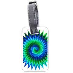 Star 3d Gradient Blue Green Luggage Tags (two Sides)