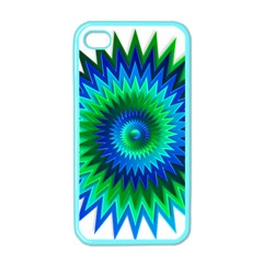 Star 3d Gradient Blue Green Apple Iphone 4 Case (color) by Nexatart