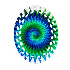 Star 3d Gradient Blue Green Oval Filigree Ornament (two Sides) by Nexatart