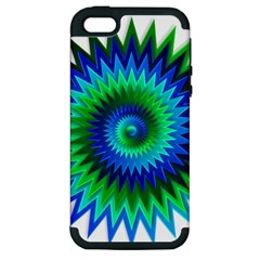 Star 3d Gradient Blue Green Apple Iphone 5 Hardshell Case (pc+silicone)
