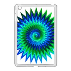 Star 3d Gradient Blue Green Apple Ipad Mini Case (white) by Nexatart