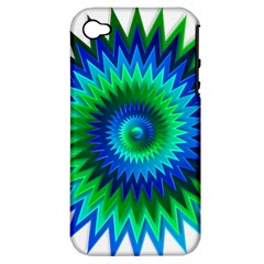 Star 3d Gradient Blue Green Apple Iphone 4/4s Hardshell Case (pc+silicone) by Nexatart