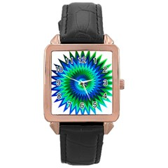 Star 3d Gradient Blue Green Rose Gold Leather Watch