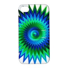 Star 3d Gradient Blue Green Apple Iphone 4/4s Hardshell Case With Stand