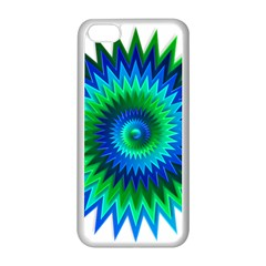 Star 3d Gradient Blue Green Apple Iphone 5c Seamless Case (white) by Nexatart
