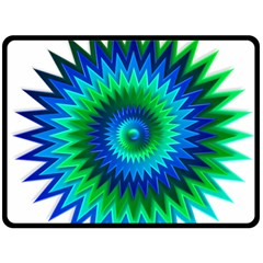 Star 3d Gradient Blue Green Double Sided Fleece Blanket (large)