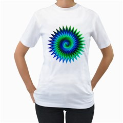 Star 3d Gradient Blue Green Women s T Shirt (white)