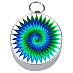 Star 3d Gradient Blue Green Silver Compasses by Nexatart