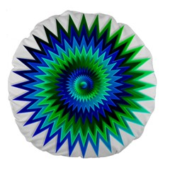 Star 3d Gradient Blue Green Large 18  Premium Flano Round Cushions