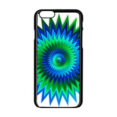 Star 3d Gradient Blue Green Apple Iphone 6/6s Black Enamel Case by Nexatart