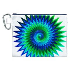 Star 3d Gradient Blue Green Canvas Cosmetic Bag (xxl)