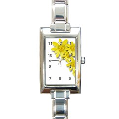 Flowers Spring Yellow Spring Onion Rectangle Italian Charm Watch