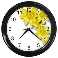 Flowers Spring Yellow Spring Onion Wall Clocks (black) by Nexatart