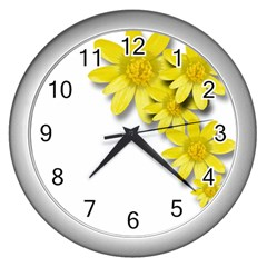 Flowers Spring Yellow Spring Onion Wall Clocks (silver)