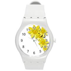 Flowers Spring Yellow Spring Onion Round Plastic Sport Watch (m) by Nexatart