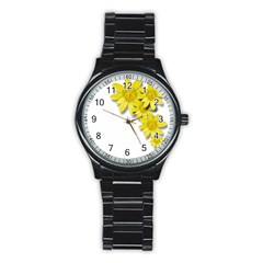 Flowers Spring Yellow Spring Onion Stainless Steel Round Watch