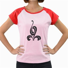 Scroll Retro Design Texture Women s Cap Sleeve T Shirt