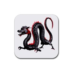 Dragon Black Red China Asian 3d Rubber Square Coaster (4 Pack)  by Nexatart