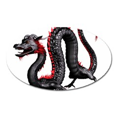 Dragon Black Red China Asian 3d Oval Magnet by Nexatart