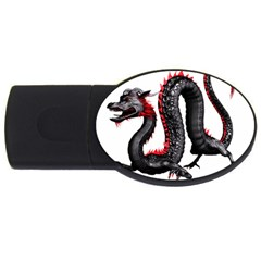 Dragon Black Red China Asian 3d Usb Flash Drive Oval (4 Gb)