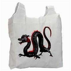 Dragon Black Red China Asian 3d Recycle Bag (one Side) by Nexatart