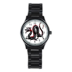 Dragon Black Red China Asian 3d Stainless Steel Round Watch