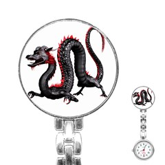 Dragon Black Red China Asian 3d Stainless Steel Nurses Watch by Nexatart