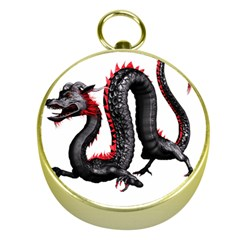 Dragon Black Red China Asian 3d Gold Compasses by Nexatart