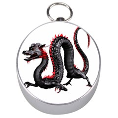 Dragon Black Red China Asian 3d Silver Compasses