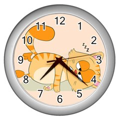 Even Cat Hates Monday Wall Clocks (silver)  by Catifornia