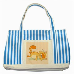 Even Cat Hates Monday Striped Blue Tote Bag by Catifornia