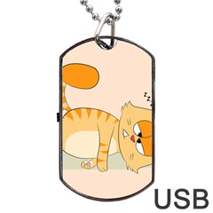 Even Cat Hates Monday Dog Tag Usb Flash (two Sides) by Catifornia