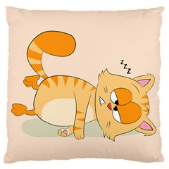 Even Cat Hates Monday Large Flano Cushion Case (one Side) by Catifornia