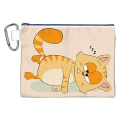 Even Cat Hates Monday Canvas Cosmetic Bag (xxl) by Catifornia