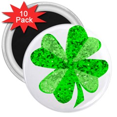 St Patricks Day Shamrock Green 3  Magnets (10 Pack)  by Nexatart