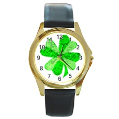 St Patricks Day Shamrock Green Round Gold Metal Watch by Nexatart