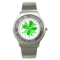 St Patricks Day Shamrock Green Stainless Steel Watch by Nexatart