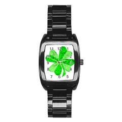 St Patricks Day Shamrock Green Stainless Steel Barrel Watch